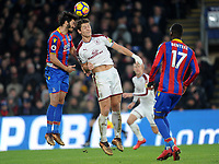 Crystal Palace's James Tomkins vies for possession with Burnley's James Tarkowski<br /> <br /> Photographer Ashley Crowden/CameraSport<br /> <br /> The Premier League - Crystal Palace v Burnley - Saturday 13th January 2018 - Selhurst Park - London<br /> <br /> World Copyright &copy; 2018 CameraSport. All rights reserved. 43 Linden Ave. Countesthorpe. Leicester. England. LE8 5PG - Tel: +44 (0) 116 277 4147 - admin@camerasport.com - www.camerasport.com