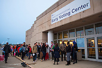 A line forms early in the morning at a Columbus, Ohio, early voting center on the first day of early voting in the state..