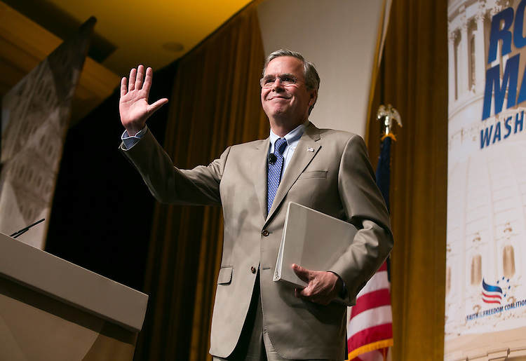 UNITED STATES - JUNE 19- Republican presidential candidate, former Florida Gov. Jeb Bush, waves to the crowd as he walks off stage at the Faith & Freedom Coalition's Road to Majority conference which featured speeches by conservative politicians at the Washington D.C. Omni Shoreham Hotel, June 19, 2015.(Photo By Al Drago/CQ Roll Call)