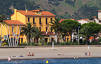 Beach and Hotel de Ville. Banyuls sur Mer, Roussillon, France