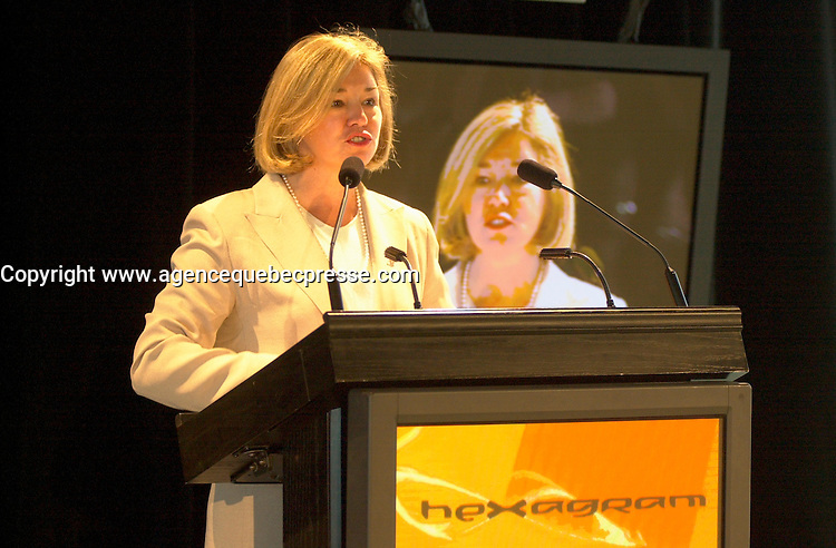 Sept 24 2002, Montreal, Quebec, Canada<br /> <br /> Celine Hervieux Payette at Hexagram Official Launch Press Conference, Sept 24 2002,in the Old Port of  Montreal, Quebec, Canada<br /> <br /> Fraser also wrotetheater plays ;  LOVE AND HUMAN REMAINS (filmed by Denis Arcand) and POOR SUPERMAN<br /> <br /> <br /> Mandatory Credit: Photo by Pierre Roussel- Images Distribution. (&copy;) Copyright 2002 by Pierre Roussel <br /> <br /> NOTE : <br />  Nikon D-1 jpeg opened with Qimage icc profile, saved in Adobe 1998 RGB<br /> .Uncompressed  Original  size  file availble on request.