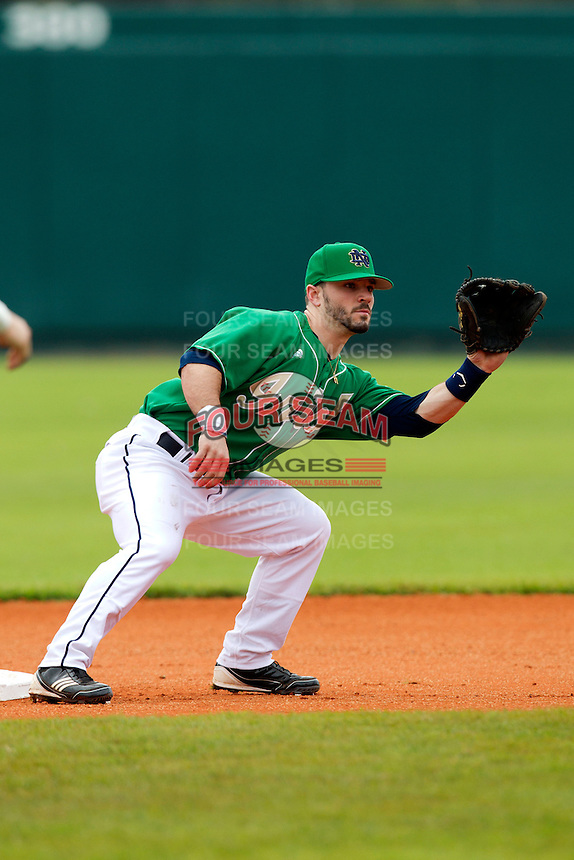 Notre Dame Fighting Irish second baseman Frank DeSico #35 during a game against the Purdue Boilermakers at the Big Ten/Big East Challenge at Al Lang Stadium on February 19, 2012 in St. Petersburg, Florida.  (Mike Janes/Four Seam Images)