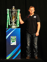 London, England. Saracens Head coach Mark McCall with the Heineken Cup during the UK Heineken Cup and Amlin Challenge Cup season launch at SKY Studios on October 1, 2012 in London, England.