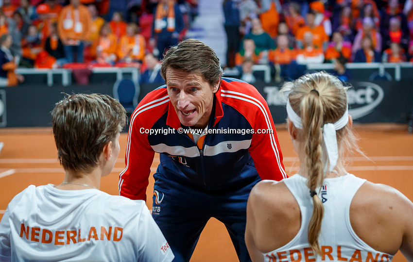 The Hague, The Netherlands, Februari 8, 2020,    Sportcampus, FedCup  Netherlands -  Balarus, Doubles: Bertens/Schuurs (NED) on the Dutch bench with captain Paul Haarhuis<br /> Photo: Tennisimages/Henk Koster