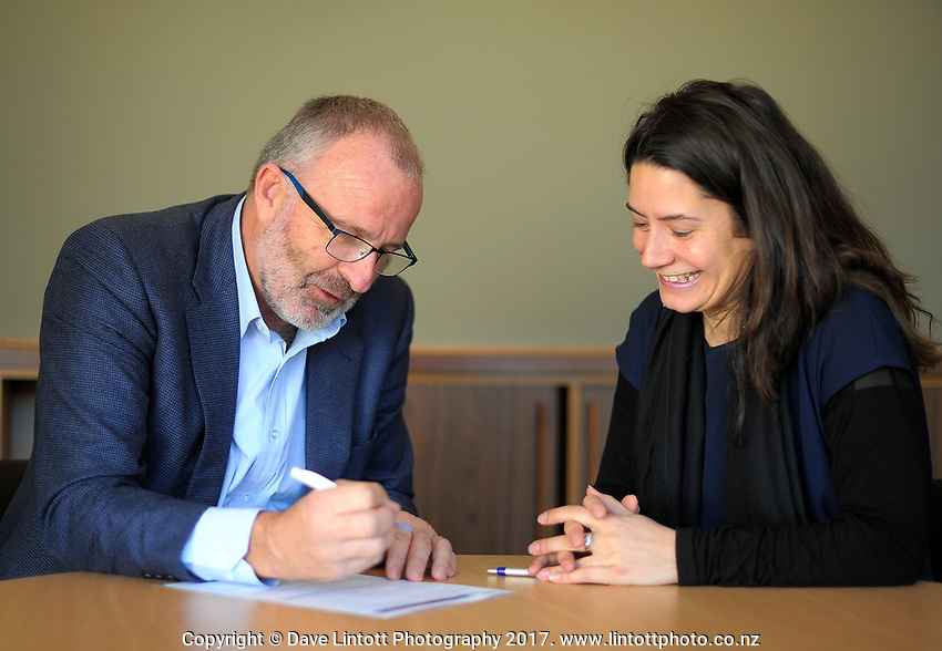 Masterton District Council chief executive Pim Borren (left) with Josie Whaanga of YETE. Masterton District Council in Masterton, New Zealand on Wednesday, 19 July 2017. Photo: Dave Lintott / lintottphoto.co.nz
