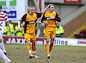 14/02/2009  Copyright Pic: James Stewart.File Name : sct_jspa06_motherwell_v_hamilton.DAVID CLARKSON IS CONGRATULATED BY MAROS KLIMPL  AFTER HE SCORES MOTHERWELL'S FIRST.James Stewart Photo Agency 19 Carronlea Drive, Falkirk. FK2 8DN      Vat Reg No. 607 6932 25.Studio      : +44 (0)1324 611191 .Mobile      : +44 (0)7721 416997.E-mail  :  jim@jspa.co.uk.If you require further information then contact Jim Stewart on any of the numbers above.........