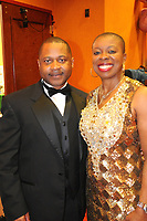 NWA Democrat-Gazette/JOCELYN MURPHY<br /> Large business candidate Tracey Brown poses with her husband Robert at the 15th annual Kiss a Pig Gala benefiting the American Diabetes Association on March 11.