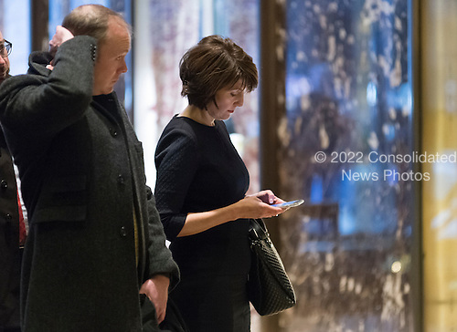 United States Representative Cathy McMorris Rogers (Republican of Oregon) is seen in the lobby of Trump Tower in New York, NY, USA upon her arrival for a meeting with US President-elect Donald Trump on December 12, 2016. <br /> Credit: Albin Lohr-Jones / Pool via CNP