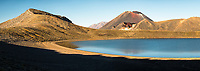 Blue Lake with volcano Mount Ngaruhoe 2287m in background, Tongariro National Park, Central Plateau, North Island, UNESCO World Heritage Area, New Zealand, NZ