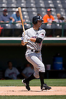 Cory Sullivan #12 of the Buffalo Bison follows through on his swing versus the Charlotte Knights at Knights Castle June 22, 2009 in Fort Mill, South Carolina. (Photo by Brian Westerholt / Four Seam Images)