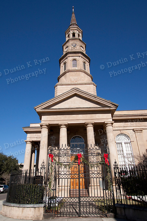 St Philips Church Downtown Charleston South Carolina Blue Sky