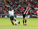 David Brooks of Sheffield Utd nearly scores with this shot during the Championship League match at Bramall Lane Stadium, Sheffield. Picture date 19th August 2017. Picture credit should read: Simon Bellis/Sportimage