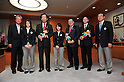 (L to R)  JOC President Tsunekazu Takeda, Sumire Kikuchi (JPN), Hirofumi Hirano Minister of Education, Culture, Sports, Science and Technology, Sara Takanashi (JPN), .JANUARY 24, 2011 - Youth Olympic : Japan national team of Youth Olympic visit Education, Culture, Sports, Science and Technology Ministry after returing Innsbruck 2012 Winter Youth Olympic Games in Tokyo, Japan. (Photo by Jun Tsukida/AFLO SPORT) [0003].