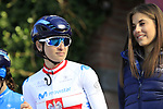 Polish National Champion Malgorzta Jasinska (POL) Movistar Team at sign on before the Strade Bianche Women Elite 2019 running 133km from Siena to Siena, held over the white gravel roads of Tuscany, Italy. 9th March 2019.<br /> Picture: Eoin Clarke | Cyclefile<br /> <br /> <br /> All photos usage must carry mandatory copyright credit (© Cyclefile | Eoin Clarke)