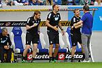 Jubel bei der Hoffenheimer Trainerbank beim Spiel in der Fussball Bundesliga, TSG 1899 Hoffenheim - Hamburger SV.<br /> <br /> Foto &copy; PIX-Sportfotos *** Foto ist honorarpflichtig! *** Auf Anfrage in hoeherer Qualitaet/Aufloesung. Belegexemplar erbeten. Veroeffentlichung ausschliesslich fuer journalistisch-publizistische Zwecke. For editorial use only.