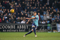 Will De Havilland of Wycombe Wanderers hits the ball upfield during the The Checkatrade Trophy - EFL Trophy Semi Final match between Coventry City and Wycombe Wanderers at the Ricoh Arena, Coventry, England on 7 February 2017. Photo by Andy Rowland.