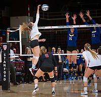 STANFORD, CA - December 1, 2017: Meghan McClure at Maples Pavilion. The Stanford Cardinal defeated the CSU Bakersfield Roadrunners 3-0 in the first round of the NCAA tournament.