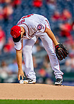 22 September 2018: Washington Nationals pitcher Austin Voth reaches for the baseball on the mound prior to the first pitch against the New York Mets at Nationals Park in Washington, DC. Voth recorded his first Major League career win as the Nationals shut out the Mets 6-0 in the 3rd game of their 4-game series. Mandatory Credit: Ed Wolfstein Photo *** RAW (NEF) Image File Available ***