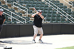 The Kannapolis Intimidators allowed dads to take batting practice on the field prior to the game against the West Virginia Power on Father's Day at Kannapolis Intimidators Stadium on June 18, 2017 in Kannapolis, North Carolina.  (Brian Westerholt/Four Seam Images)