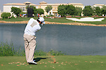 Francesco Molinari tees off on the par3 6th tee during Day 1 of the Dubai World Championship, Earth Course, Jumeirah Golf Estates, Dubai, 25th November 2010..(Picture Eoin Clarke/www.golffile.ie)