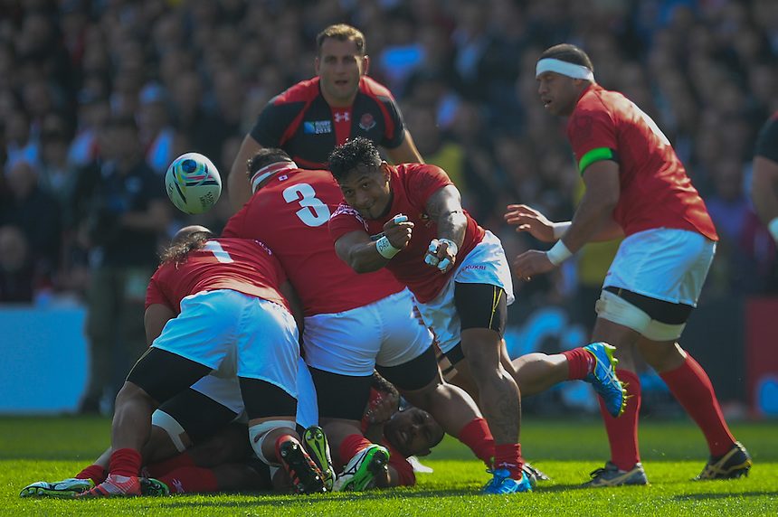 Tonga's Tane Takulua in action during todays match<br /> <br /> Photographer Craig Thomas/CameraSport<br /> <br /> Rugby Union - 2015 Rugby World Cup - 12;00  Georgia v Tonga - Saturday 19th September 2015 - Kingsholm - Gloucester <br /> <br /> &copy; CameraSport - 43 Linden Ave. Countesthorpe. Leicester. England. LE8 5PG - Tel: +44 (0) 116 277 4147 - admin@camerasport.com - www.camerasport.com