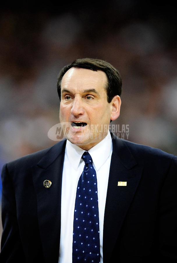 Mar. 28, 2010; Houston, TX, USA; Duke Blue Devils head coach Mike Krzyzewski against the Baylor Bears during the finals of the south regional in the 2010 NCAA mens basketball tournament at Reliant Stadium.  Duke defeated Baylor 78-71. Mandatory Credit: Mark J. Rebilas-