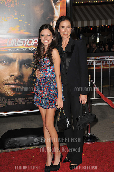 "Mimi Rogers & daughter at the world premiere of ""Unstoppable"" at the Regency Village Theatre, Westwood..October 26, 2010  Los Angeles, CA.Picture: Paul Smith / Featureflash"