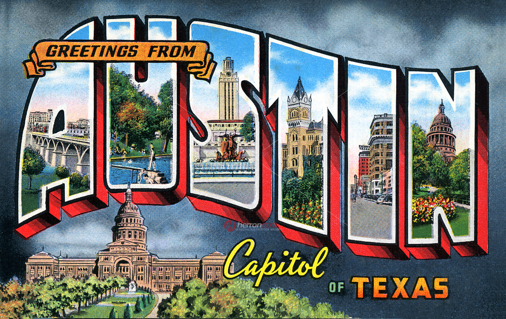 Greetings from Austin Capitol of Texas Postcard is an iconic and most loved Austin image originally from a 1937 postcard.