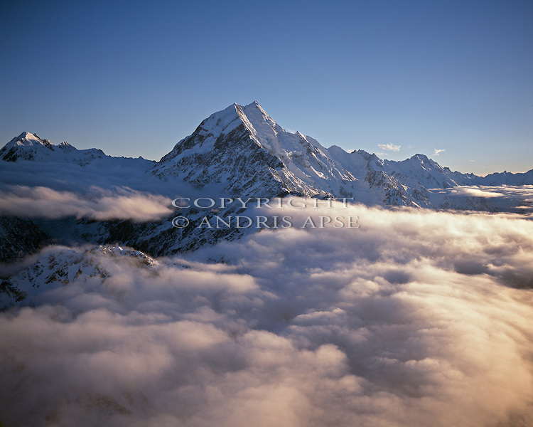 Aerial view of Mount Cook at sunrise. Mount Cook National Park. New Zealand.