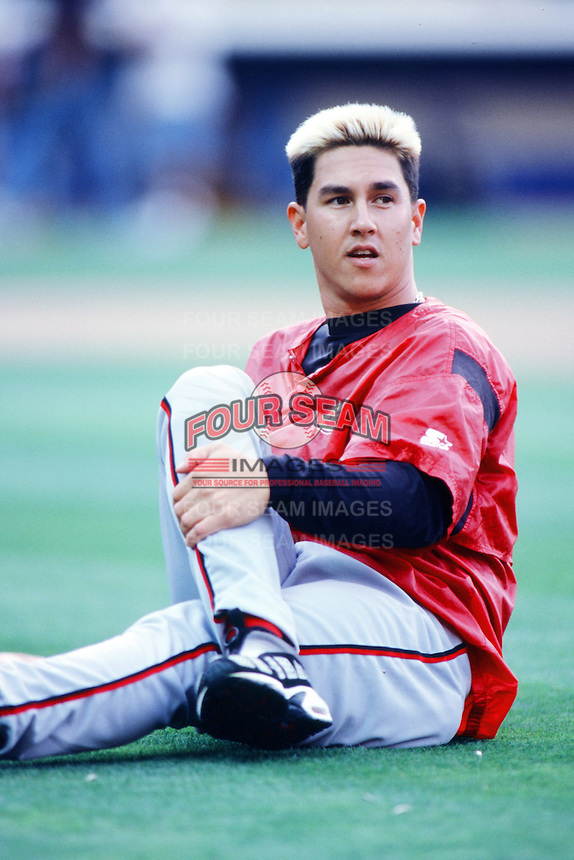 Danny Graves of the Cincinnati Reds before a 1999 Major League Baseball season game against the Los Angeles Dodgers in Los Angeles, California. (Larry Goren/Four Seam Images)
