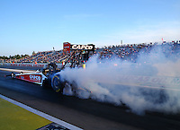 Aug 15, 2014; Brainerd, MN, USA; NHRA top fuel dragster driver Steve Torrence during qualifying for the Lucas Oil Nationals at Brainerd International Raceway. Mandatory Credit: Mark J. Rebilas-