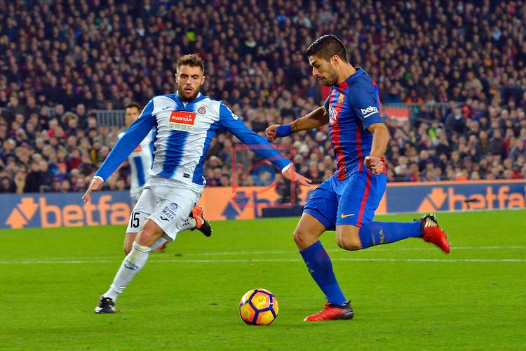 League Santander 2016/2017. Game: 16.<br /> FC Barcelona vs RCD Espanyol: 4-1.<br /> David Lopez vs Luis Suarez.