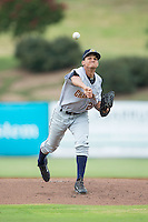 Charleston RiverDogs starting pitcher Anyelo Gomez (21) in action against the Kannapolis Intimidators at Kannapolis Intimidators Stadium on August 3, 2016 in Kannapolis, North Carolina.  The Intimidators defeated the RiverDogs 8-4.  (Brian Westerholt/Four Seam Images)