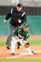 Charlotte 49ers third baseman Justin Roland (16) waits for a throw during the game against the High Point Panthers at Willard Stadium on February 20, 2013 in High Point, North Carolina.  The 49ers defeated the Panthers 12-3.  (Brian Westerholt/Four Seam Images)