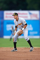 West Virginia Black Bears second baseman Kevin Mahala (5) during a game against the Batavia Muckdogs on June 28, 2016 at Dwyer Stadium in Batavia, New York.  Batavia defeated West Virginia 3-1.  (Mike Janes/Four Seam Images)