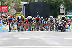 100m to the finish line and Edvald Boasson Hagen (NOR) Team Dimension Data puts the power down during Stage 1 of the Criterium du Dauphine 2019, running 142km from Aurillac to Jussac, France. 9th June 2019<br /> Picture: Colin Flockton | Cyclefile<br /> All photos usage must carry mandatory copyright credit (© Cyclefile | Colin Flockton)