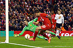 David de Gea of Manchester United makes a save from a shot by Philippe Coutinho of Liverpool during the UEFA Europa League match at Anfield. Photo credit should read: Philip Oldham/Sportimage
