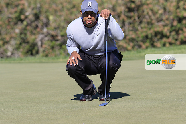 Tiger Woods (USA) at the 12th green during Friday's Round 2 of the 2017 Farmers Insurance Open held at Torrey Pines Golf Course, La Jolla, San Diego, California, USA.<br /> 27th January 2017.<br /> Picture: Eoin Clarke | Golffile<br /> <br /> <br /> All photos usage must carry mandatory copyright credit (&copy; Golffile | Eoin Clarke)