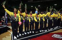 16.11.2007 Jamaica celebrate winning bronze at the New World Netball World Champs held at Trusts Stadium Auckland New Zealand. Mandatory Photo Credit ©Michael Bradley.