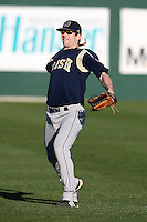 February 26, 2010:  Outfielder Bill Warrender of the Notre Dame Fighting Irish during the Big East/Big 10 Challenge at Jack Russell Stadium in Clearwater, FL.  Photo By Mike Janes/Four Seam Images
