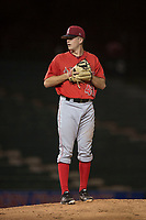 AZL Angels relief pitcher Christian Aragon (43) prepares to deliver a pitch during an Arizona League game against the AZL Athletics at Tempe Diablo Stadium on June 26, 2018 in Tempe, Arizona. The AZL Athletics defeated the AZL Angels 7-1. (Zachary Lucy/Four Seam Images)