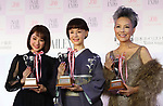 """November 11, 2018, Tokyo, Japan - (L-R) Japanese actor and actresses Yuna Taira, Mao Daichi and Peter (Shinnosuke Ikehata) pose for photo as they received the """"Nail Queen Award 2018"""" at the annual Tokyo Nail Expo in Tokyo on Sunday, November 11, 2018.     (Photo by Yoshio Tsunoda/AFLO) LWX -yt"""