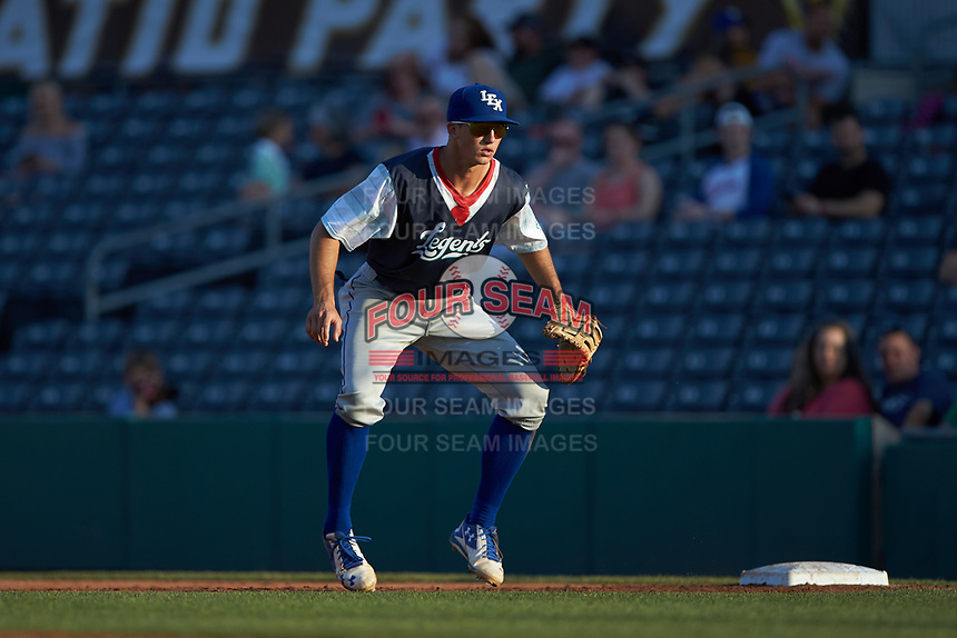 Lexington Legends first baseman Travis Jones (4) on defense against the West Virginia Power at Appalachian Power Park on June 7, 2018 in Charleston, West Virginia. The Power defeated the Legends 5-1. (Brian Westerholt/Four Seam Images)
