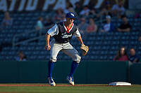 Lexington Legends first baseman Travis Jones (4) on defense against the West Virginia Power at Appalachian Power Park on June 7, 2018 in Charleston, West Virginia. The Power defeated the Legends 5-1. (Brian Westerholt/Four Seam Images)