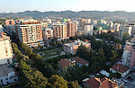 Tirana/Tirane-Albania - August 01, 2004---Partial view of Tirana, capital city of Albania, from the center towards Southwest, with the 'Enver Hoxha' villa in the middle; infrastructure---Photo: Horst Wagner/eup-images
