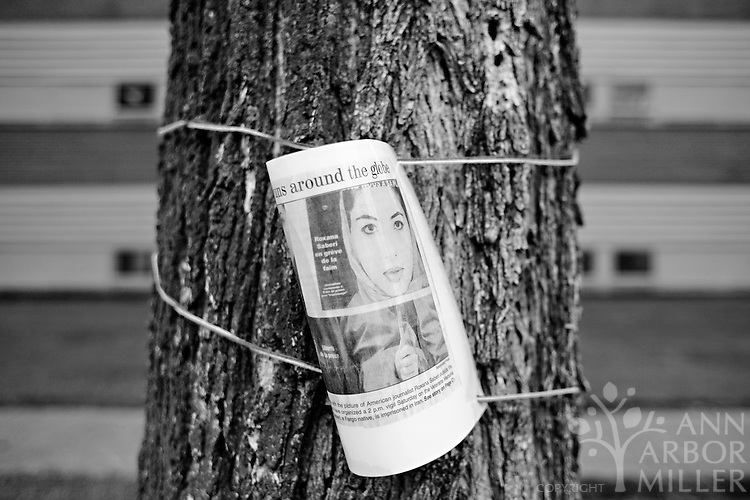 A newspaper clipping attached to a tree outside Ben Franklin Middle School in Fargo, N.D., serves as a reminder of Roxana Saberi's imprisionment in Iran. Saberi, an Amercian journalist and longtime Fargo resident, was released from prision on May 11, 2009.