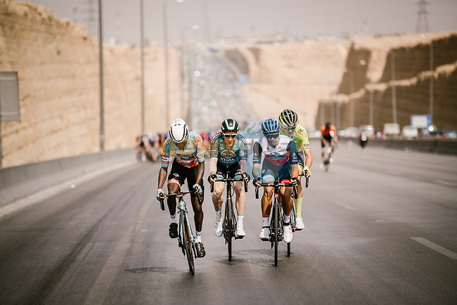 Nikodemus Holler (GER) Bike Aid, Maral-Erdene Batmunkh (MGL) Terengganu Inc.Tsg Cycling Team and Joel Suter (SUI) Wallonie-Bruxelles, form the breakaway during Stage 3 of the Saudi Tour 2020 running 119km from King Saud University to Al Bujairi, Saudi Arabia. 6th February 2020. <br /> Picture: ASO/Pauline Ballet | Cyclefile<br /> All photos usage must carry mandatory copyright credit (© Cyclefile | ASO/Pauline Ballet)
