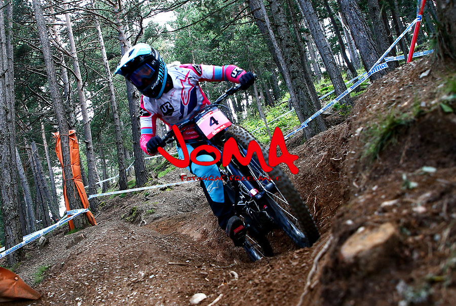 Tracey Hannah (AUS)Downhill training sesion, UCI, Moutain Bike World Cup , Vallnord Andorra. 12/07/2018