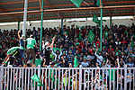 Palestinian fans react as Etihad al-Shijaiyah team and Khadamat Rafah tea competi during the final match in Palestine Cup for Southern Governorates championship, at Yarmok staduim, in Gaza city, April 22, 2019. Khadamat Rafah won the championship by penalty shootout. Photo by Mahmoud Ajjour