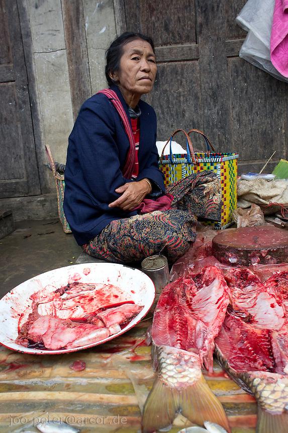 woman at market in village  Nyaungshwe close to  Inle Lake, Shan state,  Myanmar, 2011